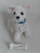 Adorable My 1st 'Nintendogs' Nodding Plush Dog + Bone Toy